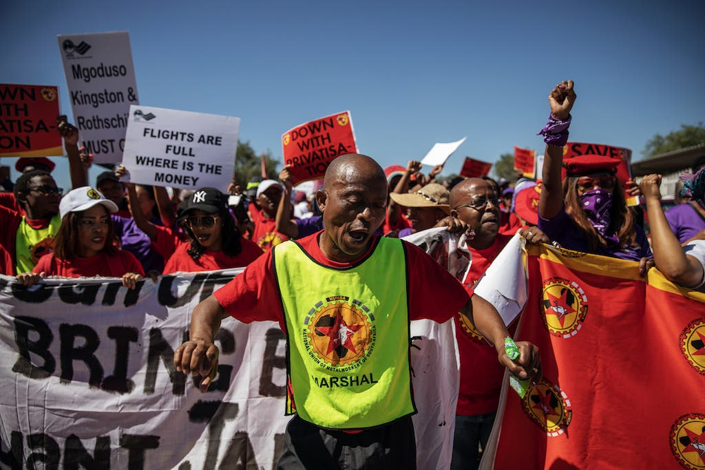 Numsa members picket protest outside the OR Tambo International Airport in Johannesburg